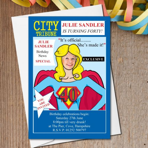 10 Personalised City News Birthday Party PHOTO Invitations N159